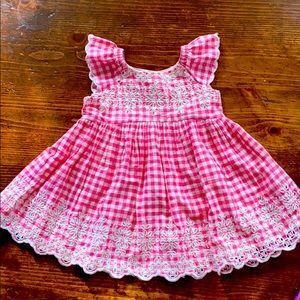Baby GAP Pink Gingham Eyelet Dress Pinafore.
